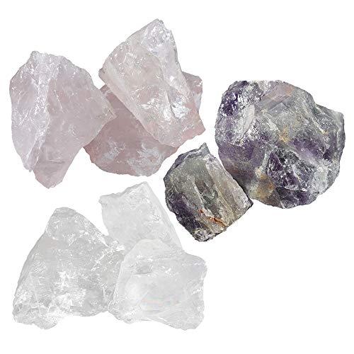 Navaris Wasserkristalle Edelsteine für Wasser - Amethyst Rosenquarz Bergkristall - Wassersteine Kristalle - unbehandelt natürlich - inkl. Tasche