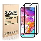 MUNDDY - Pack DE 2 Protectores de Pantalla Completa para Samsung Galaxy A10S de Dureza 9H sin Burbujas Full Cover Cristal Vidrio Templado Completa con Bordes Redondeados. (Negro Full Glue)