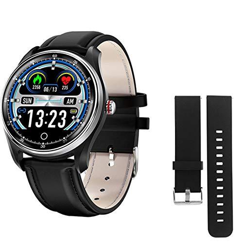 JXFF MX9 ECG PPG Smart Watch Presión Arterial Bluetooth Monitor De Ritmo Cardíaco Vida Multilingüe Vida Impermeable Smartwatch Hombres Mujeres para Android iOS,H