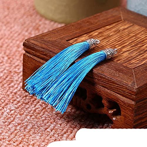 30 piezas mini borla de metal joyería cortina prendas de vestir accesorios decorativos DIY clave teléfono celular bolsa flecos borde borlas colgante azul cielo