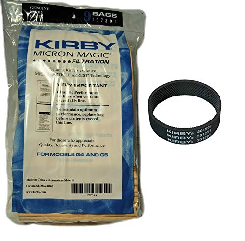 Kirby (9 Bags & 1 Belt Part#197301-Kirby Micron Magic Filtration Vacuum Bags Model G6 and Ultimate G (9 Bags & 1 Belt), 9 Bags & 1 Belt, Brown