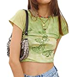 Women Y2k Butterfly Printed Shirts Summer Short Sleeve Round Neck Tops Sexy Boho Streetwear Clothes (Green, Small)