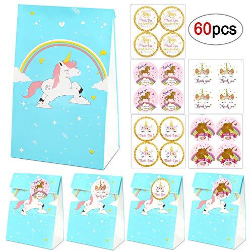 Bolsas de regalo de unicornio, 20 bolsas de papel de arco iris azul unicornio+40 pegatinas de agradecimiento de unicornio mágico, Bolsas de regalo de cumpleaños de unicornio para niños