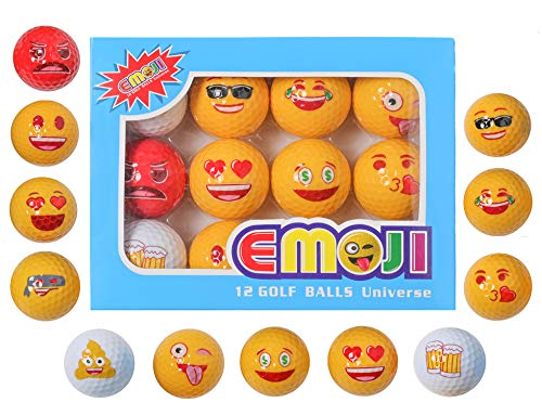 yamato Premium Emoji Golf Balls, 12 Pack Dual-Layer Novelty Professional Practice Golf Ball, Novelty Gift for All Golfers