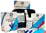 Glucometro kit con Pungidito 60 Strisce 110 Lancette e Astuccio, misuratore della Glicemia da 200 mem. per misurazione glucosio nel sangue monitoraggio zucchero