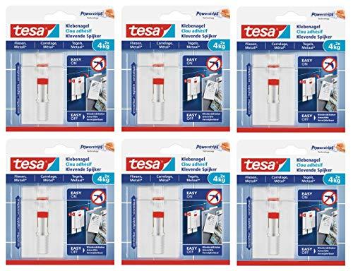 Tesa - Clavo adhesivo para azulejos y metal, ajustable (3 kg, 12 clavos (4 x 2)