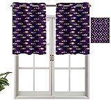 Hiiiman - Set di 2 piccole tende da cucina, con mantovane, motivo arcobaleno, motivo acquatico, sagome e strisce, per acquari faunari, 106,7 x 61 cm, per cucina, finestra, bagno e caffè