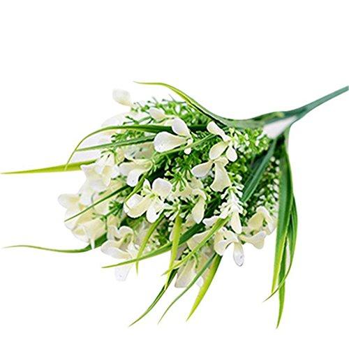 Super1798 Gladiolus Flor Artificial Hogar Oficina Boda Fiesta Floral Decor - Blanco