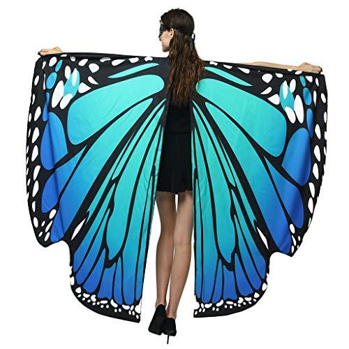 Andouy Damen Schmetterlingsflügel Schal Beidseitiger Drucken Nymphe Pixie Poncho für Party Weihnachten Cosplay Karneval(168X135CM.Blau Grün)