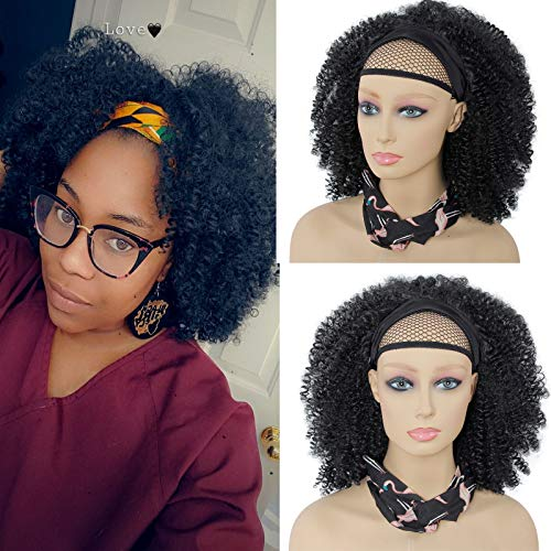 Headband Wig African American Kinky Curly None Lace Front Wigs,Afro Curly Hair Machine Made Headband Wig for Black Women 150% Density Natural Color Wig (12inch, #Black)