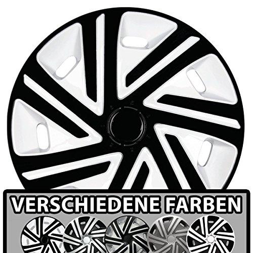 (Größe und Farbe wählbar) Radzierblenden 15 Zoll – CYRKON (Weiß-Schwarz) passend für fast alle Fahrzeugtypen (universell)!