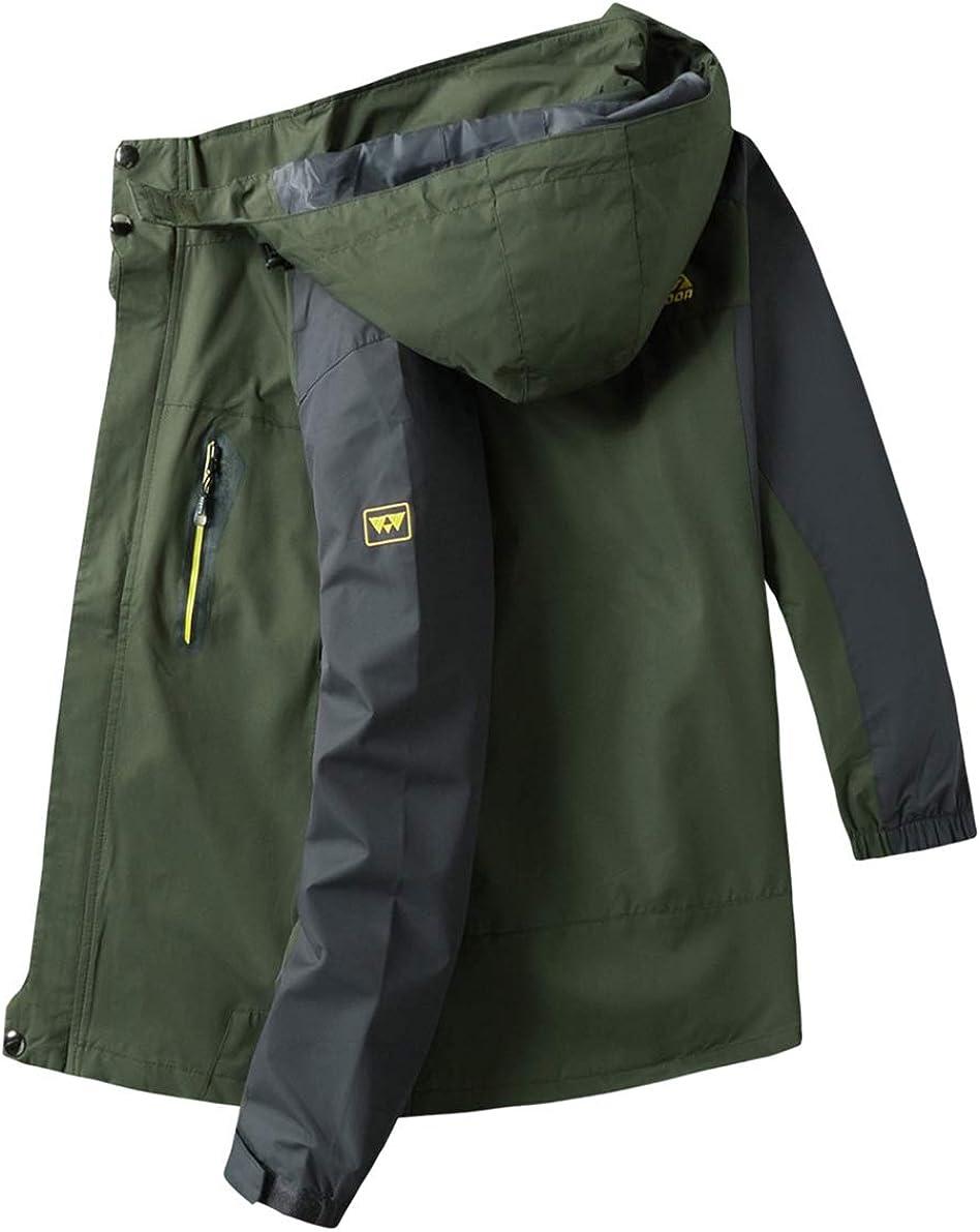 Kolongvangie Mens Hooded Sportswear Mountain Jacket Lightweight Windbreaker Outdoor Casual Windproof Rain Coat