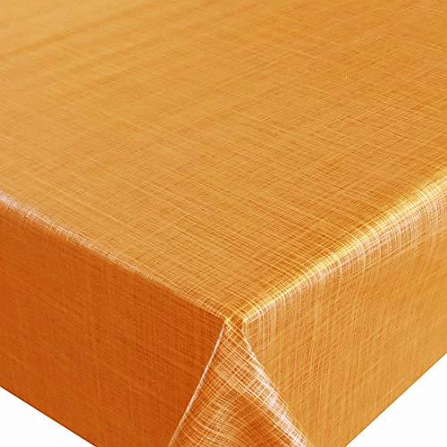 d-c-fix Wachstuch Wachstischdecke Tischdecke Gartentischdecke Leinen Look Orange Breite & Länge wählbar 110 x 160 cm Eckig abwaschbar Lebensmittelecht