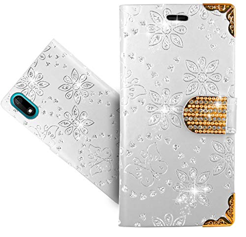 HülleExpert Wiko Y60 Handy Tasche, Wallet Hülle Cover Flower Bling Diamond Hüllen Etui Hülle Ledertasche Lederhülle Schutzhülle Für Wiko Y60