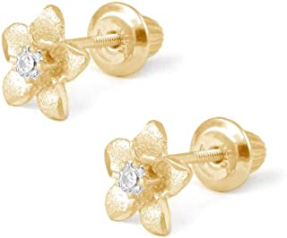 Girl's 14K Yellow Gold Diamond Or White Gold Pink Sapphire Plumeria Flower Studs