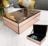 Meetart Mirror Jewelry Box Champagne Rose Gold, Jewelry Storage Organizer, High-end Luxury...