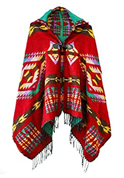 Women s Vintage Plaid Knitted Tassel Poncho Shawl Cape Button Cardigan  One Size Series 4 Red