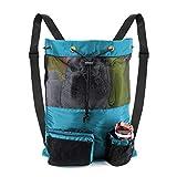 Storage Sackpack for Adult Teens Drawstring Sturdy Backpack Mesh Bag Teal