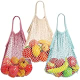 Reusable Net String Shopping Bags,TOTKEN 3 Pack Cotton Mesh Produce Bags Organic Grocery Shopping Bags Tote Handbag for Vegetables Fruits Commodities Outgoing Travel