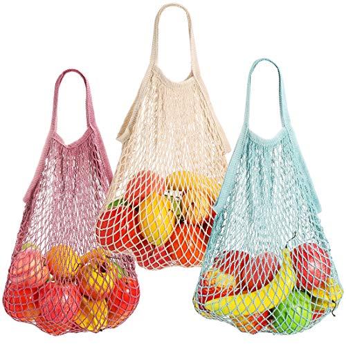 TOTKEN 3 bolsas de compras reutilizables de malla de algodón para productos de comestibles...