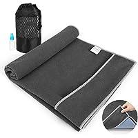 Aqui Legend Non Slip Hot Yoga Towel With Corner Pockets Design (Smoke Gray)