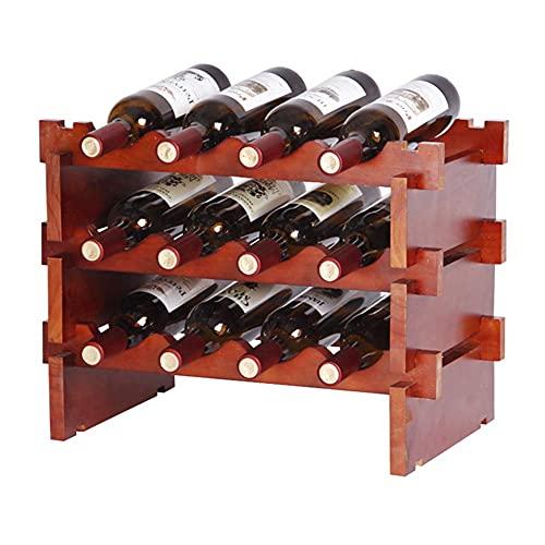 ZHBH Estante para Colgar Copas de Vino Estante para Vino de Madera apilable Soporte para Botellas de pie, fácil instalación, para Cocina, Bar, Bodega, Sala de Almacenamiento,