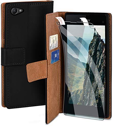 moex Handyhülle für Sony Xperia Z1 Compact - Hülle mit Kartenfach, Geldfach & Ständer, Klapphülle, PU Leder Book Hülle & Schutzfolie - Schwarz