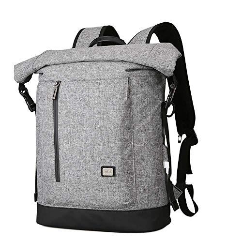 Neuleben Kurierrucksack Rucksack Rolltop 15,6 Zoll Laptop Rucksäcke Wasserabweisend Anti Diebstahl mit Brustgurt, USB Ladeanschluss Damen Herren (Grau)