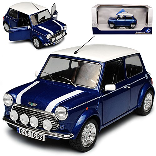 Solido Mini Cooper 1.3i Sport Pack altes Ur Modell Blau mit weißem Dach 1959-2000 1/18 Modell Auto