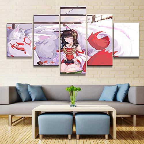 XYZNB Impresiones sobre Lienzo Azur Lane Anime 5 Piezas Nagato Pintura Imagen Arte De La Pared Cartel Dormitorio Inicio Arte Decorativo HD Imprimir Sin Marco (Tamaño 2)