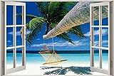 Pegatinas de pared -- Hamaca de playa con palmeras -- niños Decoración de viveros Dibujos Animados Papel Pintado 70x110cm