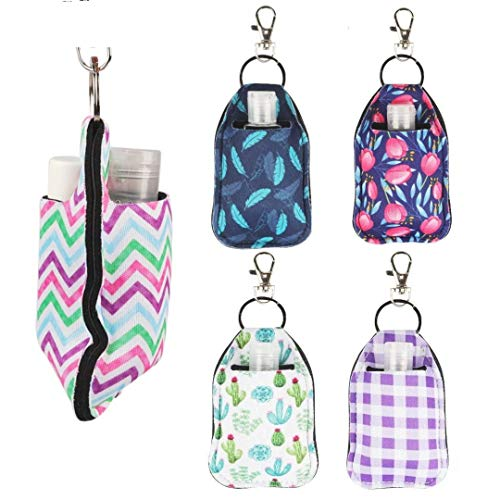 5 Dual-Sided Hand Sanitizer Keychain Holder & Keychain Chapstick Holder, Keychain Holders with Reusable Bottles Store Lip Balm, Chapstick, and Hand Sanitizer Double-Sided Travel Bag