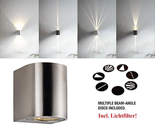 Designer LED-buitenwandlamp 2x5W warmwit 3000K LED-wandlamp roestvrij staal met lichtfilter, IP44, wand, opbouw, lamp, buitenverlichting, EEK: A, [energieklasse A]