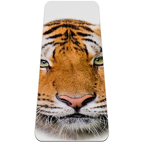 Tiger Head - Esterilla de yoga para hombres y mujeres extra gruesa antideslizante para ejercicio en interiores y hogares profesionales