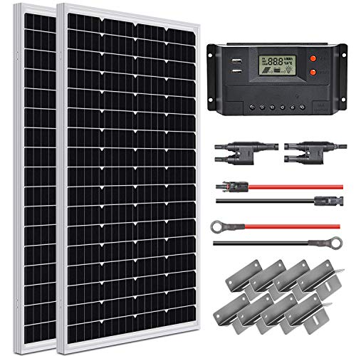 WEIZE 200 Watt 12 Volt Solar Panel Starter Kit, High Efficiency Monocrystalline PV Module for Boat, Caravan, RV and Other Off Grid Applications
