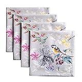 Maison d' Hermine Equinoxe 100% algodón suave y cómodo, juego de 4 servilletas perfectas para cenas familiares | Bodas | Cóctel | Cocina | Hogar | Acción de Gracias/Navidad (gris, 45 cm x 45 cm)