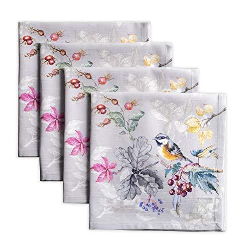 Maison d 'Hermine Equinoxe Lot de 4 serviettes 100% coton doux pour les dîners de famille | Mariage | Cocktail | Cuisine | Thanksgiving / Noël (Gris, 45cm x 45cm)