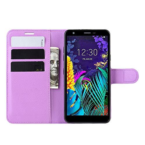 DAMAIJIA Funda Movil para LG K30 2019 Carcasa Cuero PU Silicona Magnetic Wallet Protector Teléfono Flip Back Cover For K30 2019 LG K 30 2019 Tapa con Soporte (Purple)