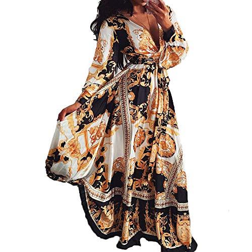 MAHUAOYIXI Abito Lungo Elegante Donna Vestito Boho Stampa Floreale Abito Vintage Manica Lunga Vestito con Scollo a V Abito da Cocktail (Marrone, XL)