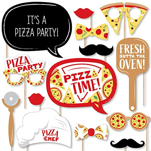 Big Dot of Happiness Pizza Party Time - Baby Shower or Birthday Party Photo Booth Props Kit - 20 Count