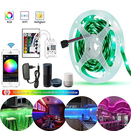 5M WiFi RGB LED Streifen Kit,LED Strip 150LED 5050SMD Lichtleiste IP65 Wasserdicht Bände Arbeitet mit Alexa, Google Home Smartphone, 12V Bänder Lichterkette mit Netzteil und Controller