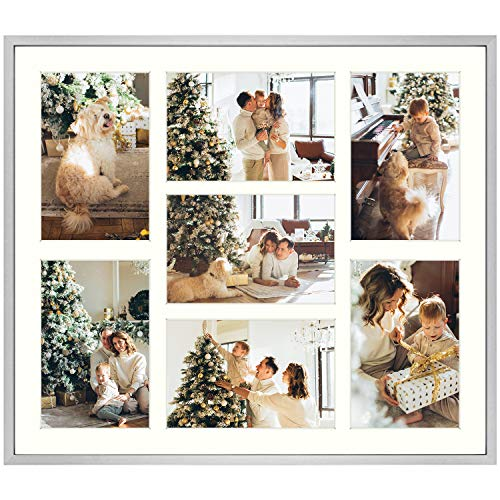 13.7x15.7 Silver Collage Frame - Ivory Mat - Displays Seven 4x6 Photos - Aluminum Metal - Real Glass, Sawtooth Hanger, Swivel Tabs - Wall Mounting, Landscape, Portrait
