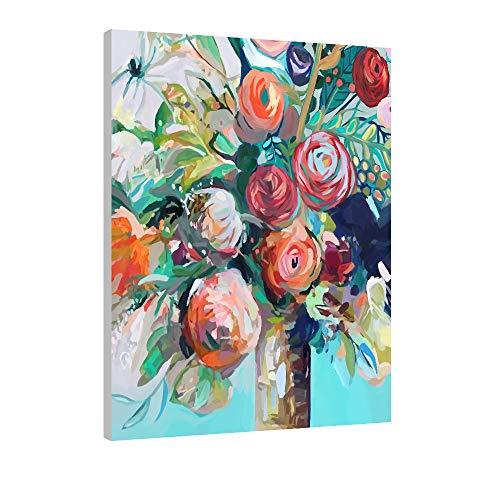 FajerminArt Malen nach Zahlen für Kinder und Erwachsene DIY Ölgemälde Geschenk-Kits mit Holzrahmen Bedruckte Leinwand Kunst Home Decoration -Painted Rose 30 * 40cm