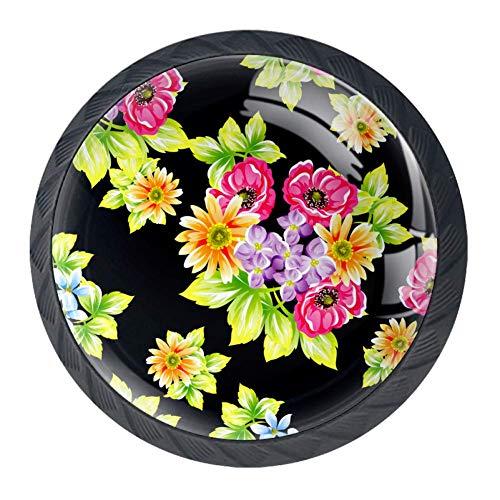 4 pomelli trasparenti per porta, cassetti e armadietti, con fiore, colore: nero e verde