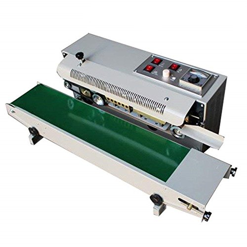 Continuous Sealing Machine Auto Sealing Sealer Machine Horizontal Sealing Sealer for Plastic Bag Band PVC Membrane Bag Film Automatic Steel Wheel prinng and Charging Function-Shipping from US