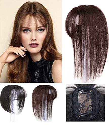 LXUE - Set di capelli a corona con frangia, veri capelli umani con clip, per donne con perdita di capelli, 30,5 cm, colore: Marrone scuro