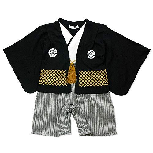 ベビーキッズ袴風カバーオールロンパース男の子黒60cm10640906BK60