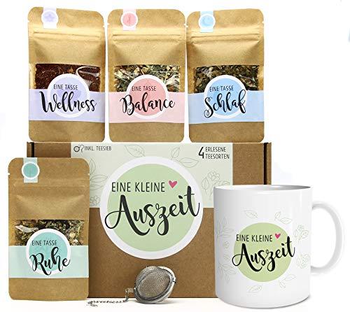 Eine kleine Auszeit Tee Geschenk-Set mit 4 verschiedene Sorten & Tee-Ei und Tasse mit Namen personalisiert Geschenkidee für Ruhe und Entspannung