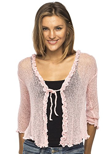 Back From Bali Womens Sheer Shrug Cardigan Sweater Ruffle Lightweight Knit  Light Pink One Size