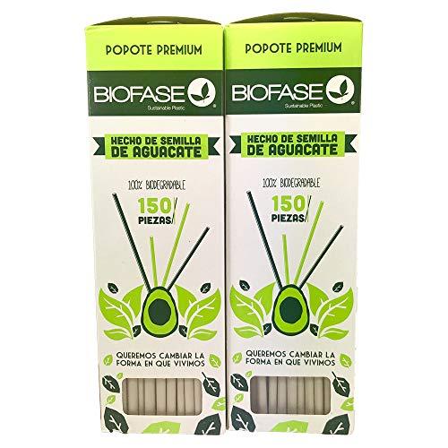 Paquete de 2 cajas de 150 popotes cada una hechos de semillas de aguacate, ecologicos biodegradables, popotes premium de 21 centimetros